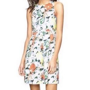 GAP FIT & FLARE PLEATED MULTICOLORED FLORAL DRESS